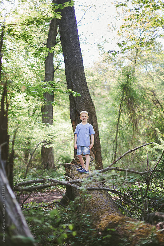 Boy balances on a fallen log in the woods by Amanda Worrall for Stocksy United