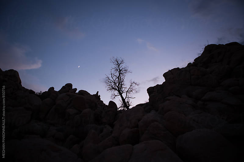 Rocky Silhouette with Sunset and Moon by MEGHAN PINSONNEAULT for Stocksy United