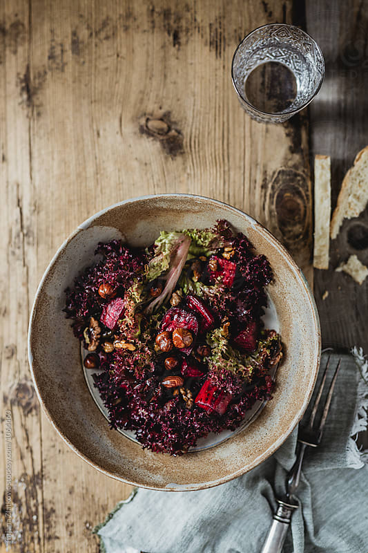 Salad with beetroot and hazelnuts by Tatjana Ristanic for Stocksy United