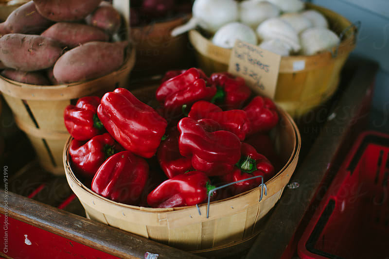 Red Bell Peppers at Farmer's Market by Christian Gideon for Stocksy United
