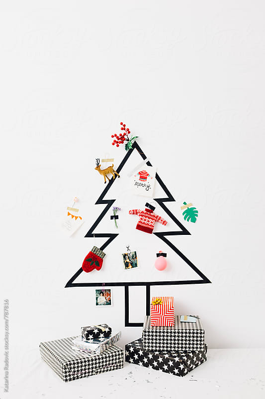Creative DIY Christmas Tree with Presents by Katarina Radovic for Stocksy United