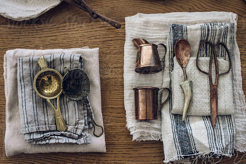 Silver Cutlery on Linen Napkins by Hung Quach for Stocksy United