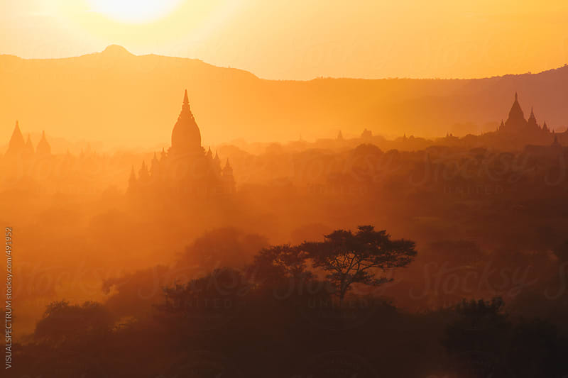 Orange Sunset Light Over Pagodas of Bagan, Burma by VISUALSPECTRUM for Stocksy United