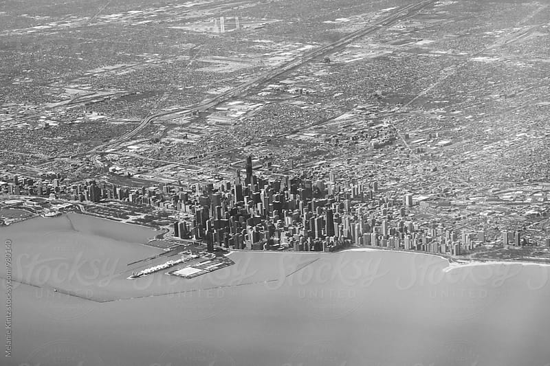 Chicago aerial, seen from an airplane by Melanie Kintz for Stocksy United