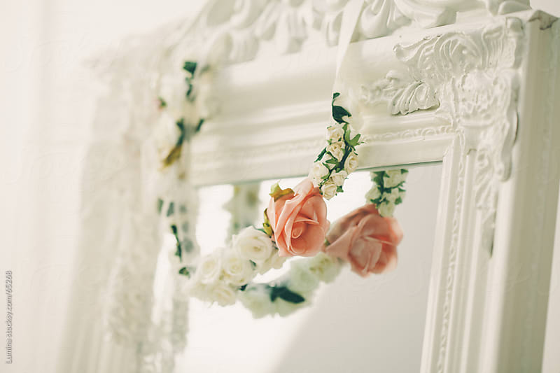 Pink and White Rose Wreath on a Mirror by Lumina for Stocksy United