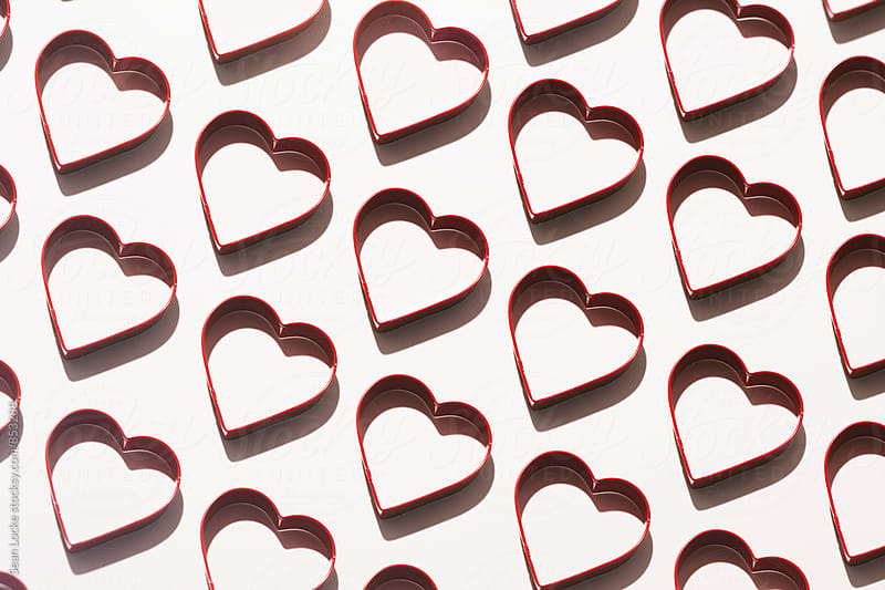 Valentine: Rows Of Valentine Heart Cookie Cutters by Sean Locke for Stocksy United