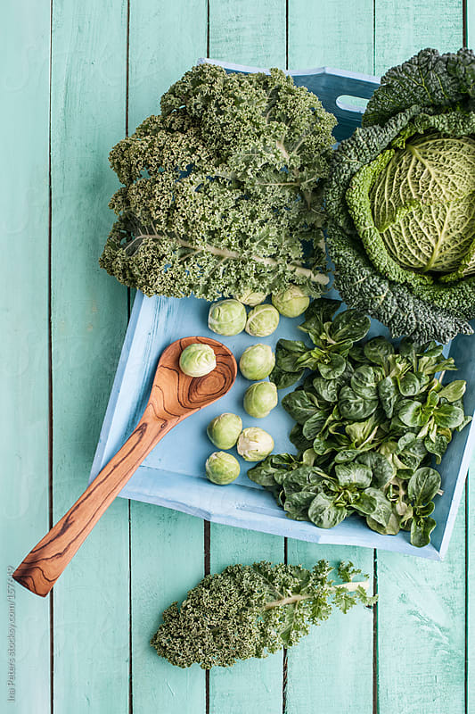 Food: Green Winter Vegetables, Brussels Sprouts,Cabbage, Kale an by Ina Peters for Stocksy United
