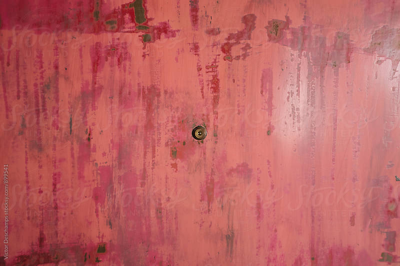 Pink Metallic Door With Peephole by Victor Deschamps for Stocksy United