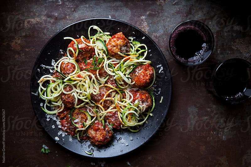 Meatball courgetti pasta  by Nadine Greeff for Stocksy United