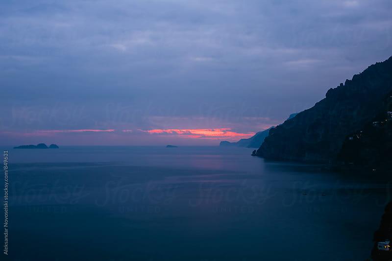 Sunset at the Amalfi coast, Positano, Italy by Aleksandar Novoselski for Stocksy United