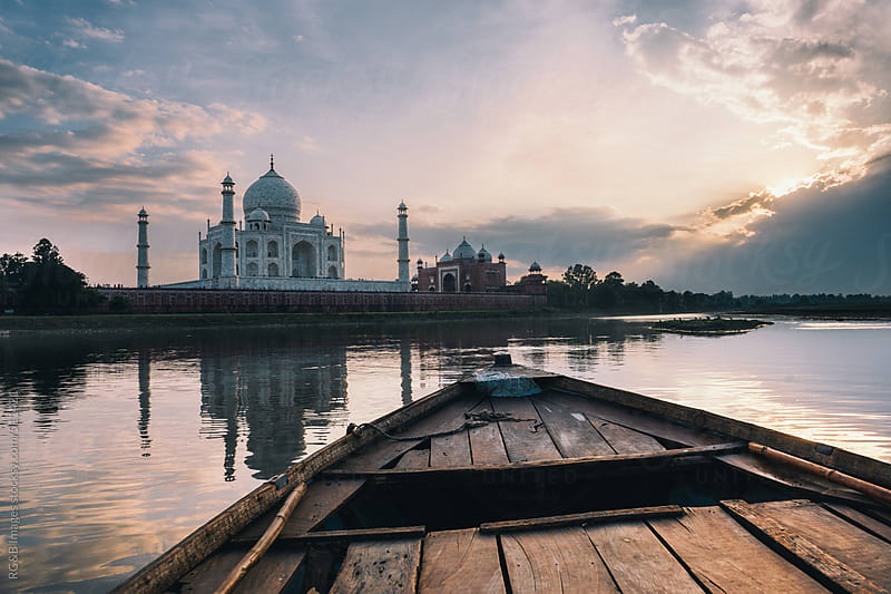 Taj Mahal seen from the river by RG&B Images for Stocksy United