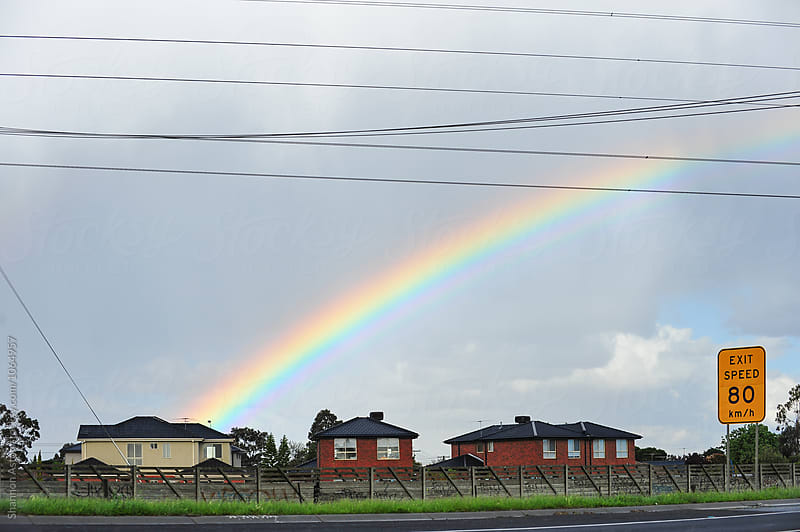 Rainbow houses, Melbourne by Shannon Aston for Stocksy United