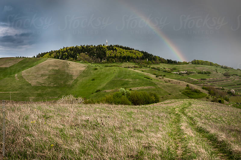 Path leading through hilly landscape with Rainbow by Andreas Wonisch for Stocksy United