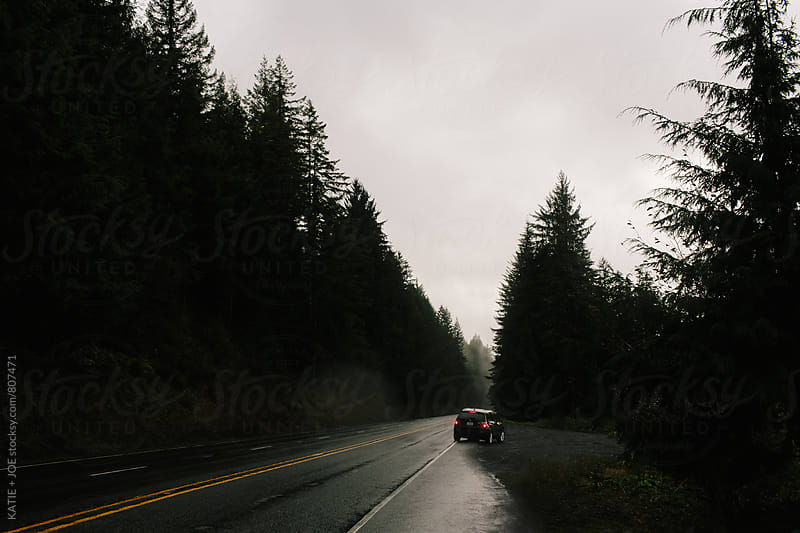 Dark, gloomy road through the forest by KATIE + JOE for Stocksy United