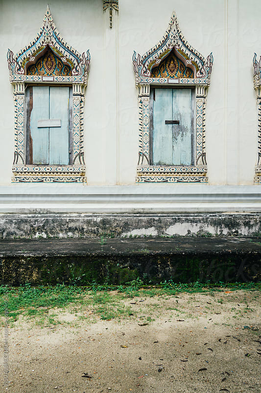Nailed Window Shutters in Abandoned Thai Buddhist Temple by VISUALSPECTRUM for Stocksy United