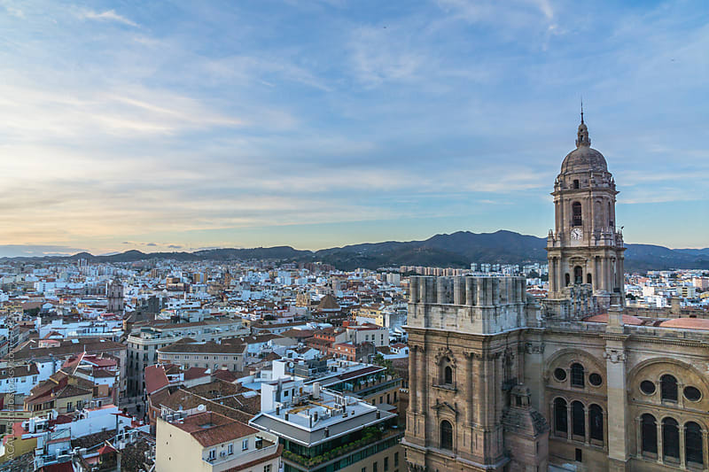 Aerial view of Malaga city, Spain by ACALU Studio for Stocksy United
