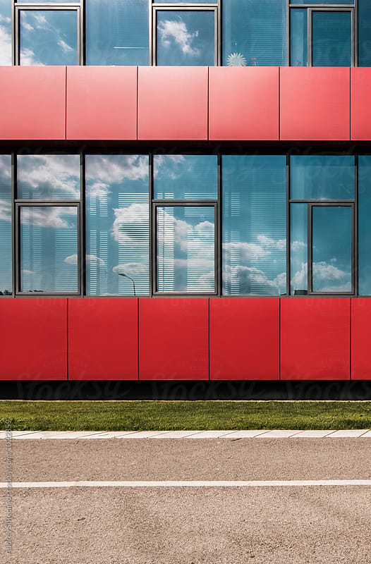Detail of red modern building.  by Marko Milanovic for Stocksy United