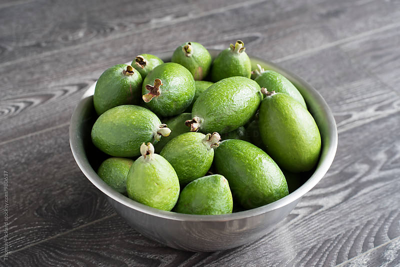 Feijoa fruit in stainless steel bowl, New Zealand. by Thomas Pickard for Stocksy United