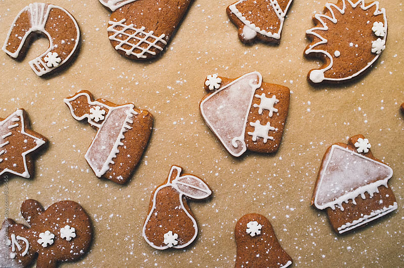 Group of christmas gingerbread with sugar by Tomas Mikula for Stocksy United