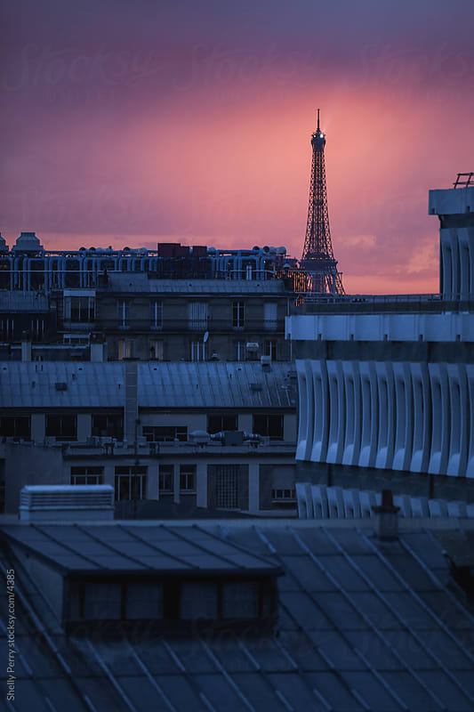 Roof top sunset in Paris, Eiffel Tower in the background by Shelly Perry for Stocksy United