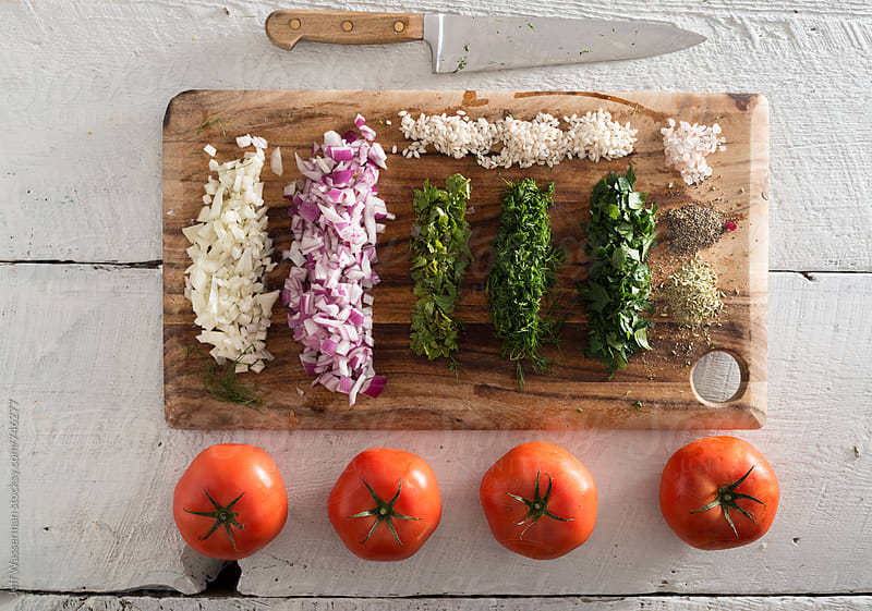 Ingredients for Stuffed Tomatoes by Jeff Wasserman for Stocksy United