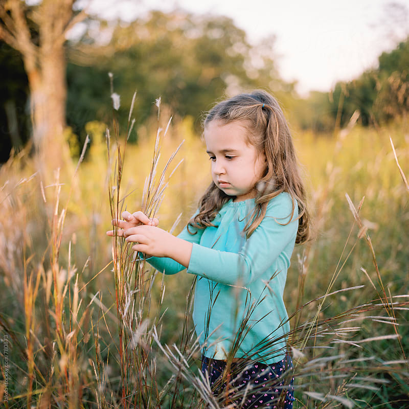 Cute young girl playing in a field of tall grass by Jakob for Stocksy United