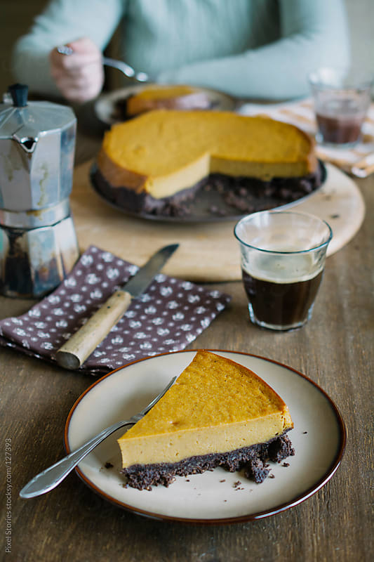 Chocolate pumpkin tart by Pixel Stories for Stocksy United