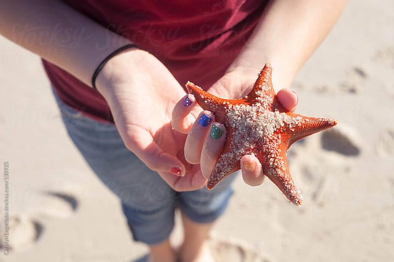 Young girl holding a orange starfish at the beach by Carolyn Lagattuta for Stocksy United