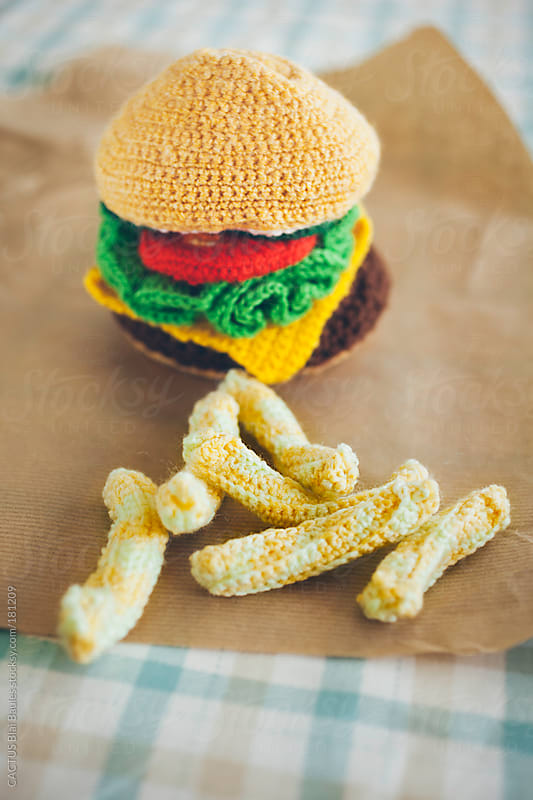 Amigurumi hamburger and fries by CACTUS Blai Baules for Stocksy United