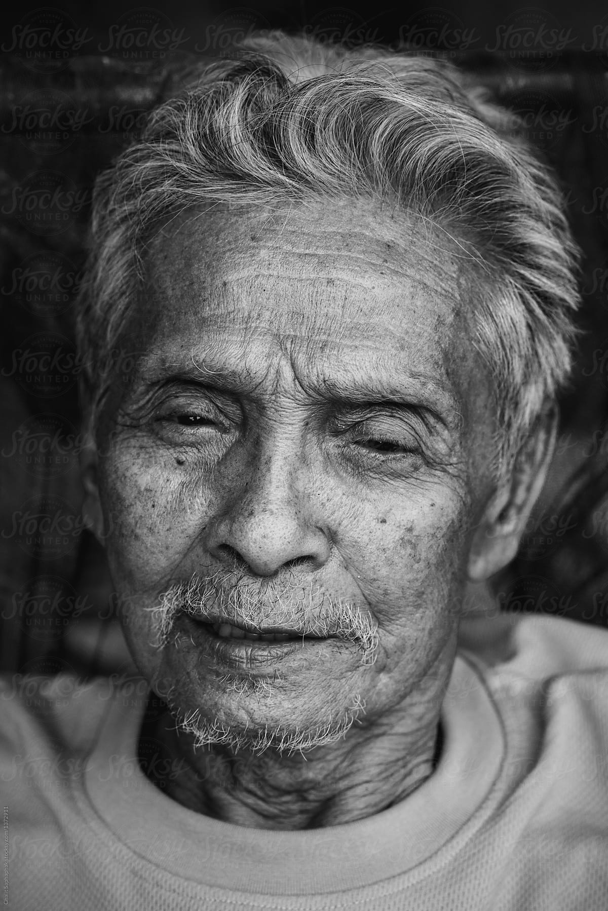 Stock photo portrait of asian old man