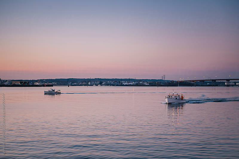 Lobster Boats Pulling out of Harbor at Dawn in Portland, Maine by Raymond Forbes LLC for Stocksy United