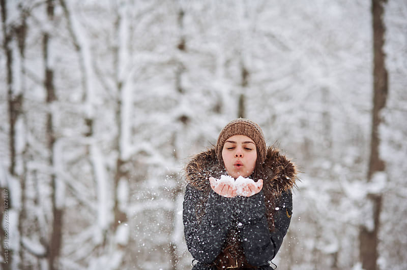 Winter portrait of young girl by Svetlana Shchemeleva for Stocksy United