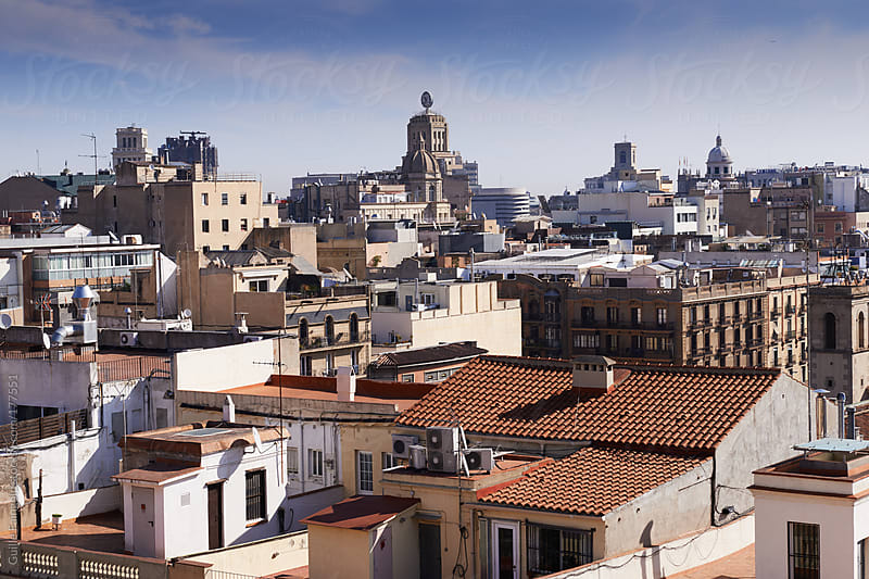 Barcelona aerial rooftops view by Guille Faingold for Stocksy United