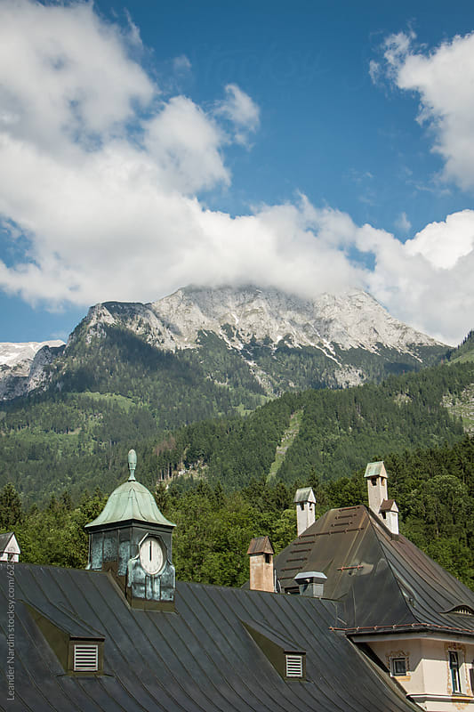 Bavarian Houses with the Hoher Göll Mountain in the back by Leander Nardin for Stocksy United