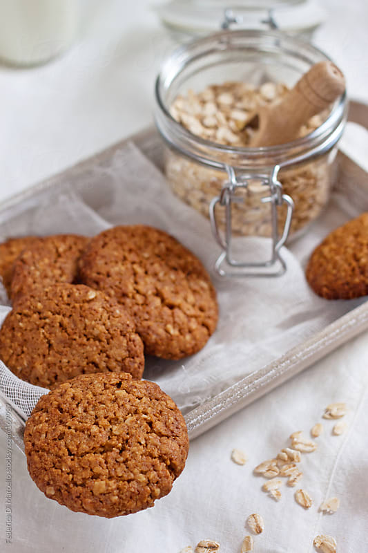 Wholemeal cookies with cereal flakes by Federica Di Marcello for Stocksy United
