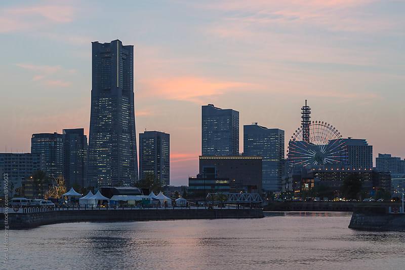 Yokohama, Japan - City Skyline at Sunset by Tom Uhlenberg for Stocksy United