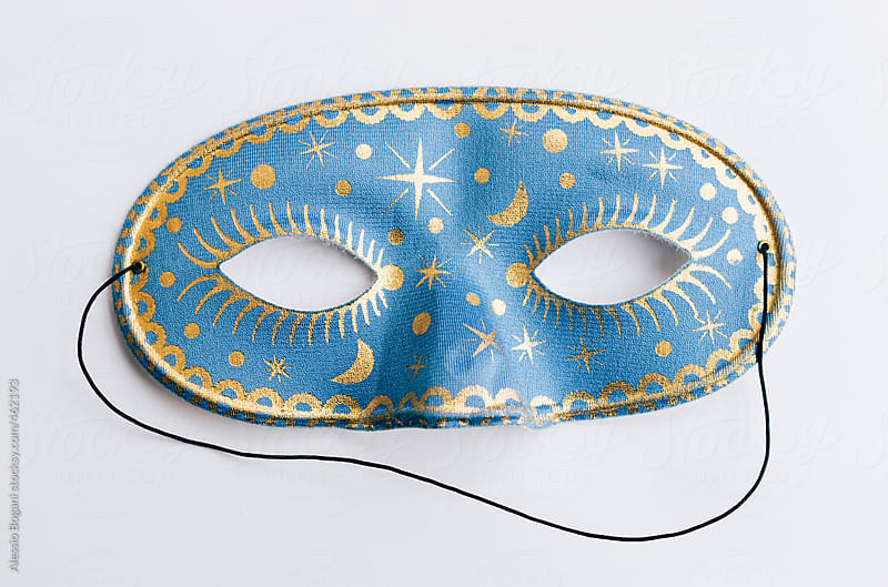 Blue and gold Carnival Columbine half mask by Alessio Bogani for Stocksy United