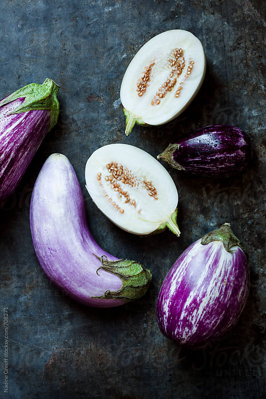 Variety of eggplants by Nadine Greeff for Stocksy United