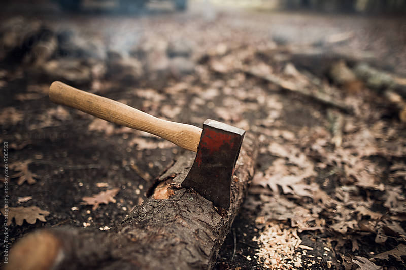 Detail of axe stuck in log by Isaiah & Taylor Photography for Stocksy United