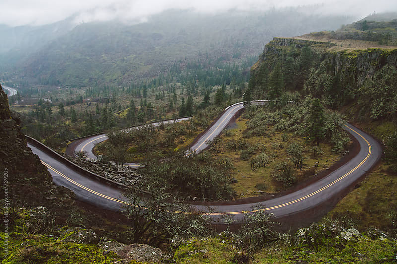 Winding road through a foggy gorge in Oregon. by Kate Daigneault for Stocksy United