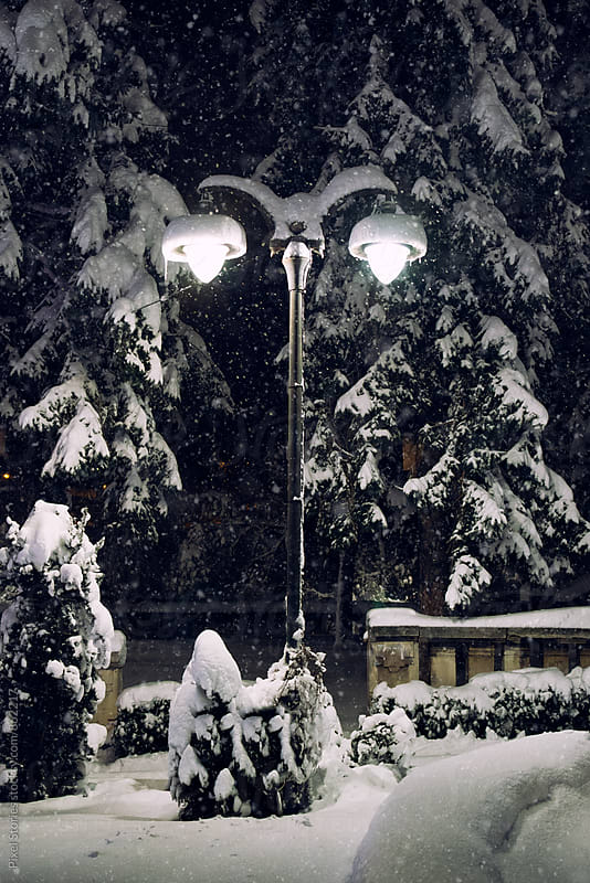 Street lamp on a snowy night by Pixel Stories for Stocksy United