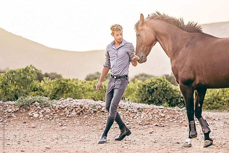 Horse and Trainer by Helen Sotiriadis for Stocksy United