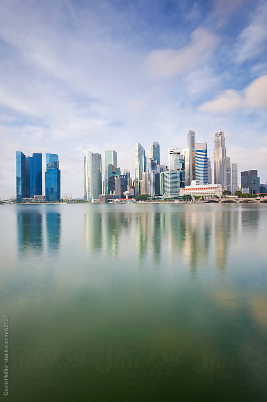 South East Asia, Singapore, City Skyline, View across Marina Bay by Gavin Hellier for Stocksy United