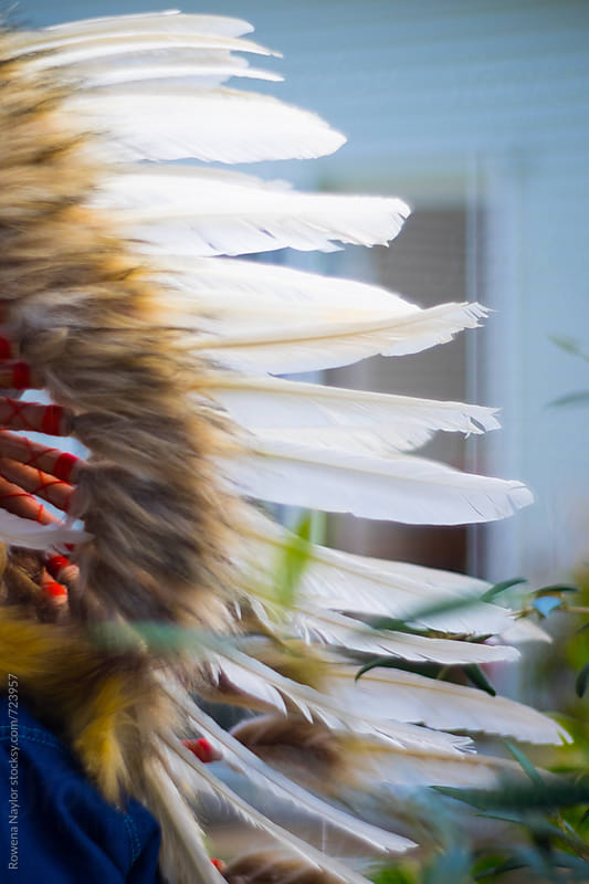 Close-up of feathers on a Indian Head Dress by Rowena Naylor for Stocksy United