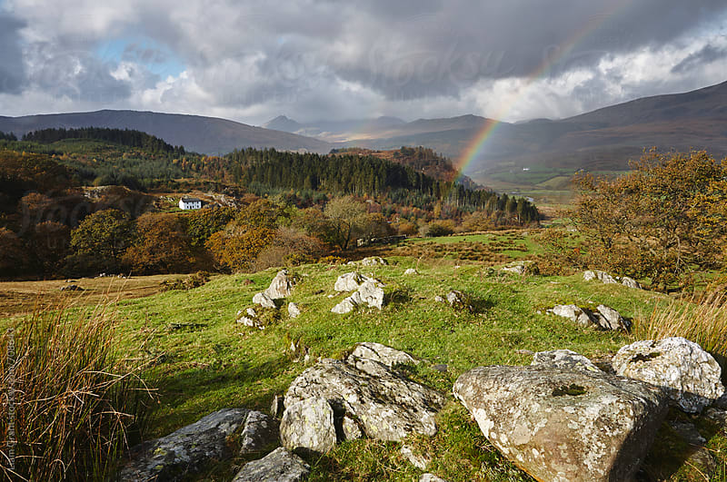 Rainbow over Hafod Gwenllian. Snowdonia, Wales, UK. by Liam Grant for Stocksy United