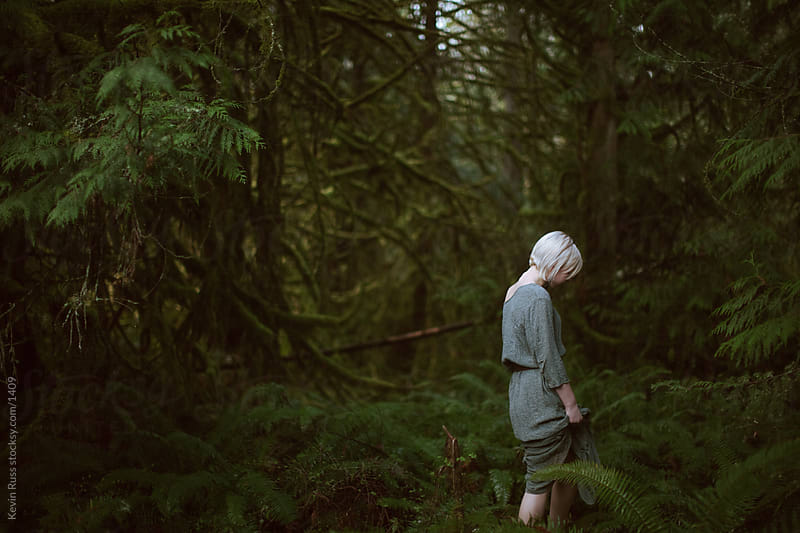 Woman in Dress in Forest by Kevin Russ for Stocksy United