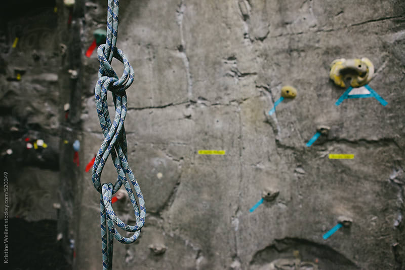 Rock Climbing Rope with Wall in background by Kristine Weilert for Stocksy United