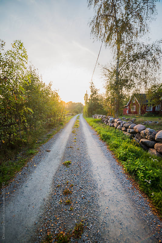 countryside road at a scandinavian village by Christian Zielecki for Stocksy United