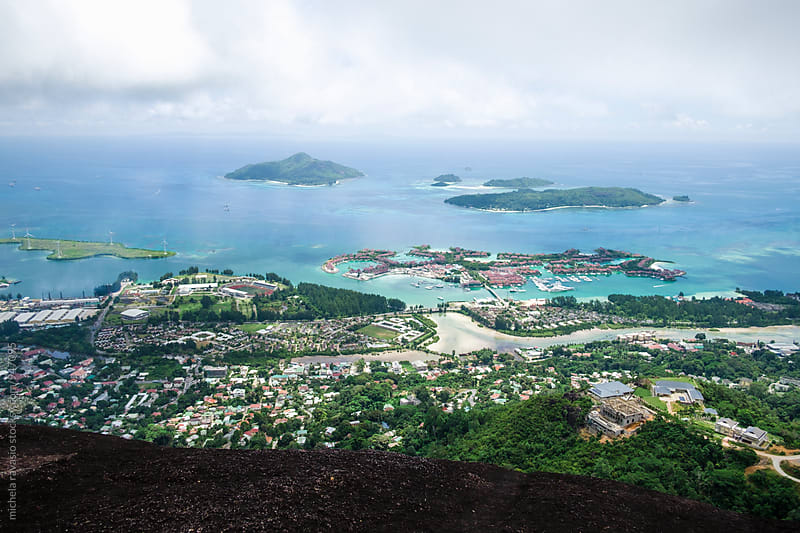 City of Victoria view from above, Mahé Island, Seychelles by michela ravasio for Stocksy United