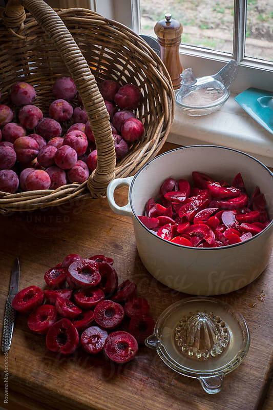 Making Plum Jam by Rowena Naylor for Stocksy United